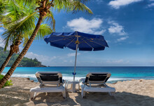 Beach Umbrella And Sunbeds Under Coconut Palm Trees In Tropical Beach And Sea.