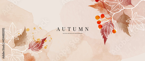 Fotografia Autumn background design  with watercolor brush texture, Flower and botanical leaves watercolor hand drawing