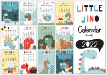 Calendar 2022. Yearly Planner Calendar With All Months. Templates With Little Dinosaur. Vector Illustration. Great For Kids, Nursery, Poster And Printable.