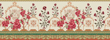 Digital Multi Flowers Border Ornament Seamless Pattern With Watercolor Flowers Pink Roses, Repeat Floral Texture, Vintage Background Hand Drawing. Perfectly For Wrapping Paper, Wallpaper Fabric Print,