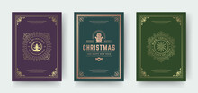 Christmas Greeting Cards Vintage Typographic Design, Ornate Decorations Symbols With Snowman, Winter Holidays Wishes