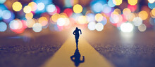 Man Running Go Forward On Street And Have Light Bokeh In A Unique Shape. Concept Leader Winner Of Business. Vintage Tone
