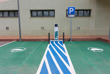 Public Electric Car Charging Area, Two Places.