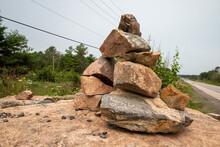 Inukshuk On The Roadside In Northern Ontario, Canada