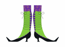 Witches Leg Vector. Halloween Funny, Scary Feet Boots.