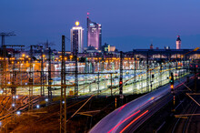 Leipzig (Germany). Skyline At The Blue Hour With Main Station And Incoming Train.