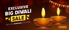 Happy Diwali Sale Design With Diya Oil Lamp Elements On Brown Background, Bokeh Sparkling Effect