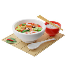 3d Tom Yam Kung Soup In A Buddha Bowl Next To A Plate Of Rice, Chopsticks, A Spoon, Chili Peppers On A Bamboo Mat, Isometric View On A White Background, 3d Rendering