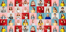 Collage Of Faces Of Surprised, Shocked Children, Kids, Pupils Isolated On Multicolored Backgrounds. Childhood, Human Emotions, Facial Expression, Diversity Concept.