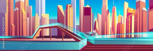 Carta da parati Pedestrian overpass in modern city cartoon vector