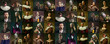 Leinwandbild Motiv Collage of medieval men and women as a royalty persons in vintage clothing on dark background. Concept of comparison of eras, modernity and renaissance, baroque style.