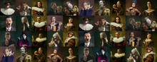 Collage Of Medieval Men And Women As A Royalty Persons In Vintage Clothing On Dark Background. Concept Of Comparison Of Eras, Modernity And Renaissance, Baroque Style.