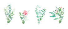 Watercolor Isolated Floral Set With Roses And Eucalyptus. Romantic Collection Of Bouquets With Gentle Pink Flowers And Greenery For Logo, Wedding, Cards, Prints And Textile.