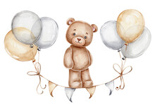 Teddy Bear, Balloons And Flags; Watercolor Hand Drawn Illustration; With White Isolated Background