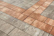 Sidewalk Slabs With A Complex Striped Decorative Paint. Selective Focusing.
