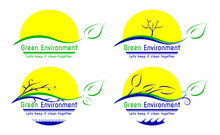 4 Variations Set Of Green Environment Concept, Only 3 Colors Used, Including Sun, Tree, Branch, Twig, Leaf, Sea & Ornaments. Carefully Layered & Labeled.