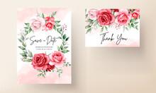 Romantic Maroon Flower Wedding Invitation Card Template