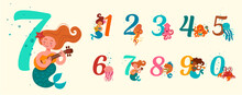 Vector Illustration Of Numbers In A Marine Theme. Figures Of Mermaids, Jellyfish, Fish, Colmar, Crab, Octopus. Poster, Postcard For Children.