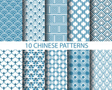 10 Different Chinese Traditional Seamless Patterns,  Pattern Swatches, Vector, Endless Texture Can Be Used For Wallpaper, Pattern Fills, Web Page,background,surface