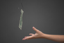 Dollar Banknote Hanging On The Fishing Hook And Female Hand On The Gray Background. Financial Trap Concept.