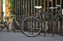 Bicycle Is Parked At Outdoor Floor Rack Parking Slot