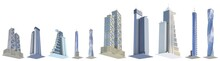 Set Of Very Detailed Hi-tech Tall Buildings With Fictional Design And Blue Sky Reflection - Isolated, Various Angles Views 3d Illustration Of Architecture