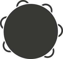 Black Flat Silhouette Of A Tambourine With Metal Plates.