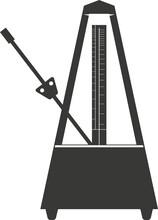 Black Flat Silhouette Of A Mechanical Metronome.