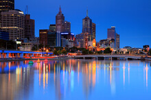 Melbourne Cityscape During Blue Hour And The Yarra River In Downtown Melbourne, Victoria, Australia