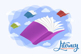 Literacy concept open book imagination flying sky