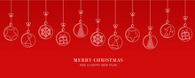 Red Christmas Card With Tree Balls Decoration On Red Background