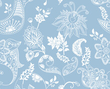 Floral Seamless Pattern. Light Floral Wallpaper. Seamless Backdrop With Decorative Climbing Flowers. For Fabric, Digital Paper, Decoupage, Invitation, Web, Textile. Hand Drawn Plants Wallpaper.