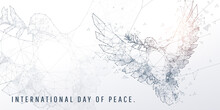 Abstract Geometric And Vertex Of White Pigeon And International Day Of Peace Of Technology And Futuristic Concept
