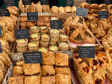 Food - Pies And Savory Pastries On A Market Stall In Malton - Yorkshires Food Capital