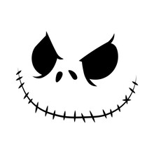 Vector Halloween Faces. The Nightmare Before Christmas. Jack Skellington. Halloween Jack Faces Silhouettes.