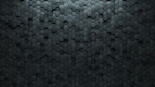 Semigloss Tiles Arranged To Create A 3D Wall. Concrete, Hexagonal Background Formed From Futuristic Blocks. 3D Render