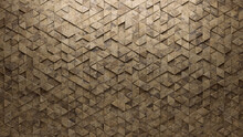 Semigloss Tiles Arranged To Create A 3D Wall. Triangular, Natural Stone Background Formed From Textured Blocks. 3D Render