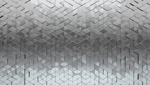 Glossy Tiles Arranged To Create A Silver Wall. Triangular, Luxurious Background Formed From 3D Blocks. 3D Render