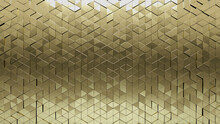 3D Tiles Arranged To Create A Gold Wall. Triangular, Luxurious Background Formed From Glossy Blocks. 3D Render