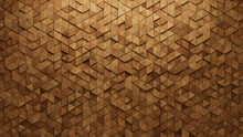 3D Tiles Arranged To Create A Natural Wall. Triangular, Soft Sheen Background Formed From Wood Blocks. 3D Render