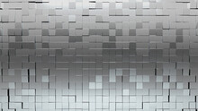 Glossy Tiles Arranged To Create A 3D Wall. Silver, Luxurious Background Formed From Square Blocks. 3D Render