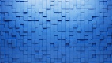 Square Tiles Arranged To Create A Semigloss Wall. 3D, Blue Background Formed From Futuristic Blocks. 3D Render