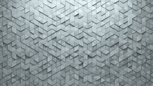 Semigloss Tiles Arranged To Create A Futuristic Wall. Triangular, 3D Background Formed From Concrete Blocks. 3D Render