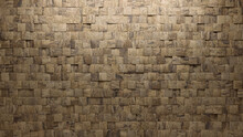 Textured Tiles Arranged To Create A Natural Stone Wall. Square, Semigloss Background Formed From 3D Blocks. 3D Render