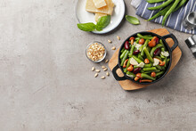Delicious Salad With Green Beans, Mushrooms And Cheese On Light Grey Table, Flat Lay. Space For Text