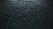 Concrete Tiles Arranged To Create A Futuristic Wall. Rectangular, Semigloss Background Formed From 3D Blocks. 3D Render