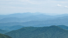 Color Panorama Of Appalachian Mountains From A High Vista With Pine Trees And Views From Mount Mitchell