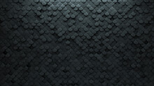 3D Tiles Arranged To Create A Futuristic Wall. Concrete, Fish Scale Background Formed From Semigloss Blocks. 3D Render