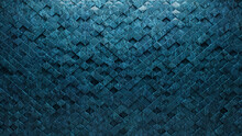 3D Tiles Arranged To Create A Textured Wall. Blue Patina, Arabesque Background Formed From Glazed Blocks. 3D Render