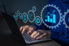 Data Science Analyst Working With Statistics And Report On Computer. Concept With Icons Of Charts And Graph Connected. Business Analytics Consultant Analyzing Metrics And Key Performance Indicators